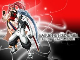 Baiken and Hakumen by mikagome007