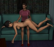 Laura over Emily's lap 01 by caligula97030