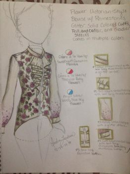 Fashion Sketch #4: Flower Victorian-Style Blouse by Myindiansummer