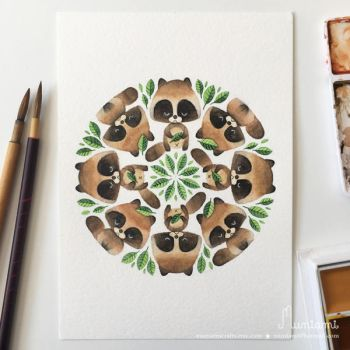 Mandala Tanuki and Leaves by natalianinomiya