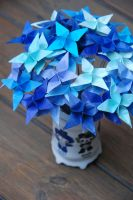 Origami Star Shades of Blue Flowers by lisadeng
