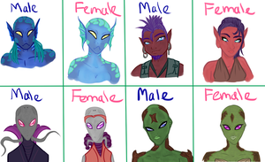 Alien Busts Genders by TaviTheBlue