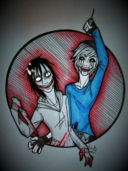 Nick Vanill and Jeff the killer by EvilOvoshch