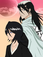 Kuchiki Byakuya and Rukia (Bleach) by CaptainGhostly