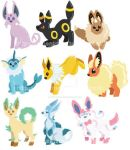 Eeveelution Stickers by SnakePrince