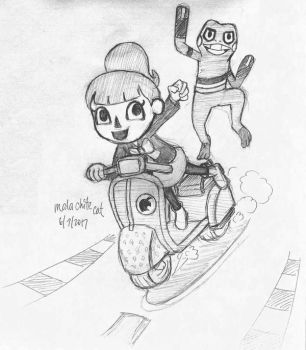 Female Villager and Croagunk pencils! by malachitecat