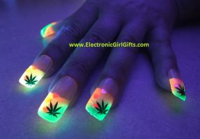 BiolumiNails - Pink/Green Cannabis Glow Nails by electronicgirlgifts