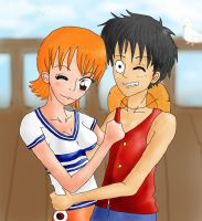 Nami and Luffy by Popcorni