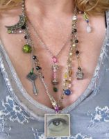 Metaphysical - Lenticular winking Eye Necklace by Collage-A-Dada