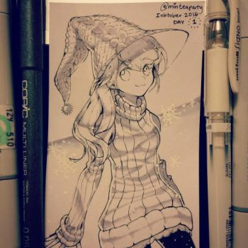 Inktober Day 1 Winter Witch by minteaparty