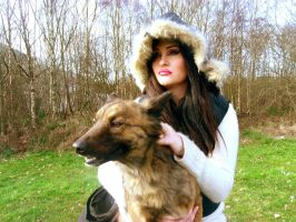 woman,dog,woodland,brunette, stock by L-A-Addams-Art