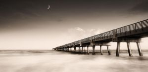 Moon and Pier by sciph