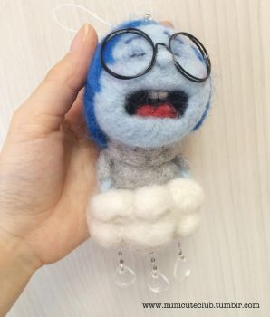 Needle felted Sadness by minicuteclub