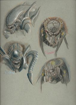 Color Practice aliens and predators by predatorog2