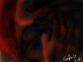 Claire and Garrus some downtime at the mainbattery by Sanctia
