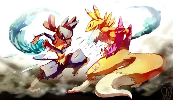 PokeDigimon : Foxes Fight by Sa-Dui