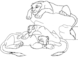 Resting Lionesses Lineart by Lil-Cheetah