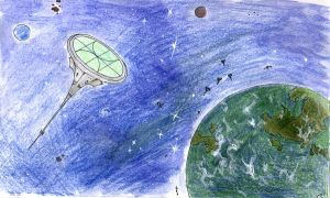 Spaceships over planet Fraz by SkyWookiee