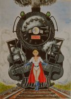 Power Girl gently stops train by svettzwo
