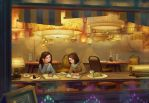 Sepia-colored cafe by a-human-works
