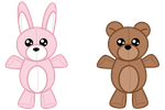 Bunny and Teddy Plushies by goldbullet