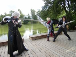 Sephiroth VS Cloud and Squall by Tappajapappi