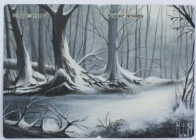 Mtg Snow covered Forest by Magicandart