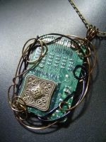 Bronze wrapped circuit by BacktoEarthCreations