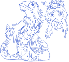 Potoo Cockatrice Sketch by whmSeik