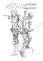 Snake Eyes and Scarlett by Thegerjoos