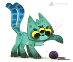 Daily Painting 886. Alien Cat by Cryptid-Creations