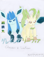 Glaceon and Leafeon by Chotetsumaru