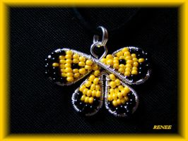 Yellow butterfly pendant by jasmin7