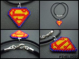 Handmade Seed Bead Superman Logo Necklace by Pixelosis