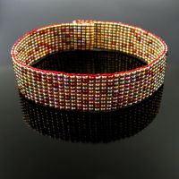 Slim bead loomed bracelet with galvanized beads by CatsWire