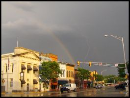 Lightning and Rainbow Downtown by DJCandiDout