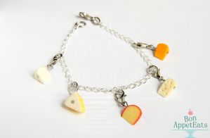 Commission: Cheese Charm Bracelet by Bon-AppetEats