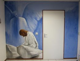 Angel and Jesus wall painting by mandyart1