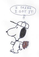 Snoopy about to catch a baseball by dth1971