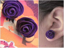 Purple Rose Earrings by nuki-nina