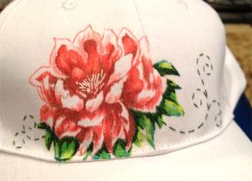 Flower hat Embroidery and Drawing by Mysticalpchan