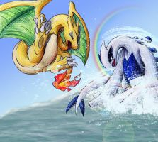Charizard VS Lugia by blazheirio889