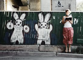 Reading with rabbits by psychiatrique