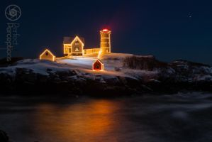 Winter at Nubble Light. by JPGagnon