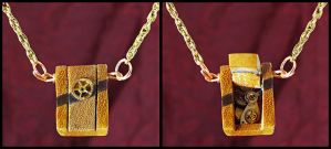 Hinged Box Pendant - Osage Orange by Fandragon