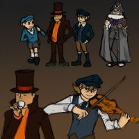 Layton Sketches by DarkPenguin