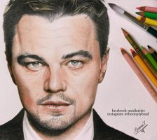 colored pencil drawing of leonardo dicaprio by sanilartist
