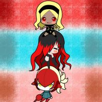 Kat Raven and Yunica chibi by yurika-sai-sama