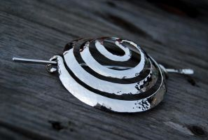 Hammered Silver Spiral Bun Ornament by DreamingDragonDesign