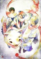 Gintama: Four person muffler by muttiy